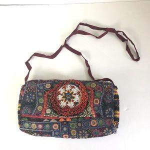 Beaded boho multicolored crossbody purse clutch